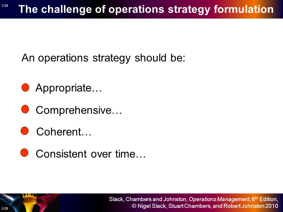 The challenge of operations strategy formulation