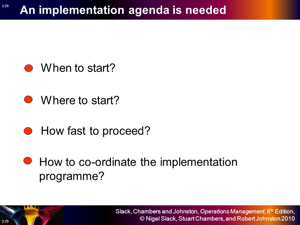 An implementation agenda is needed