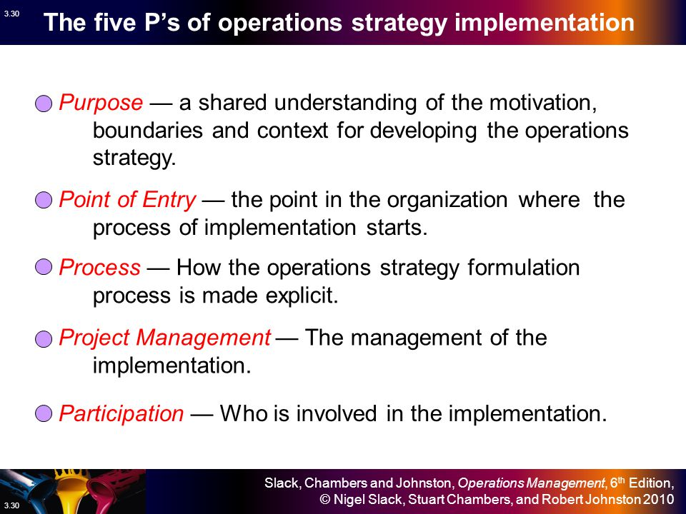 The five P's of operations strategy implementation