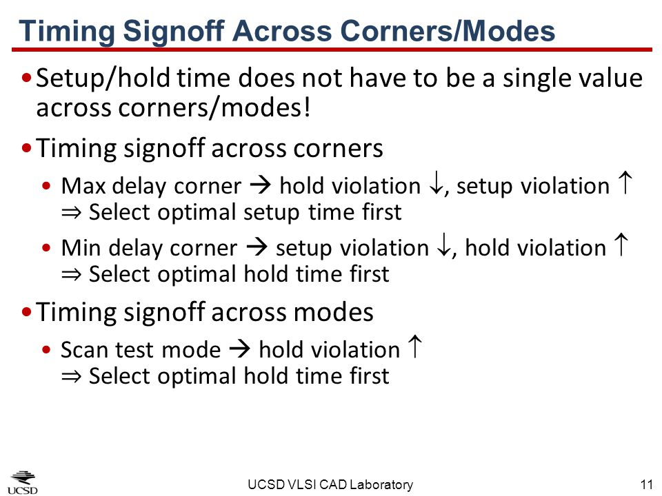 Timing Signoff Across Corners/Modes