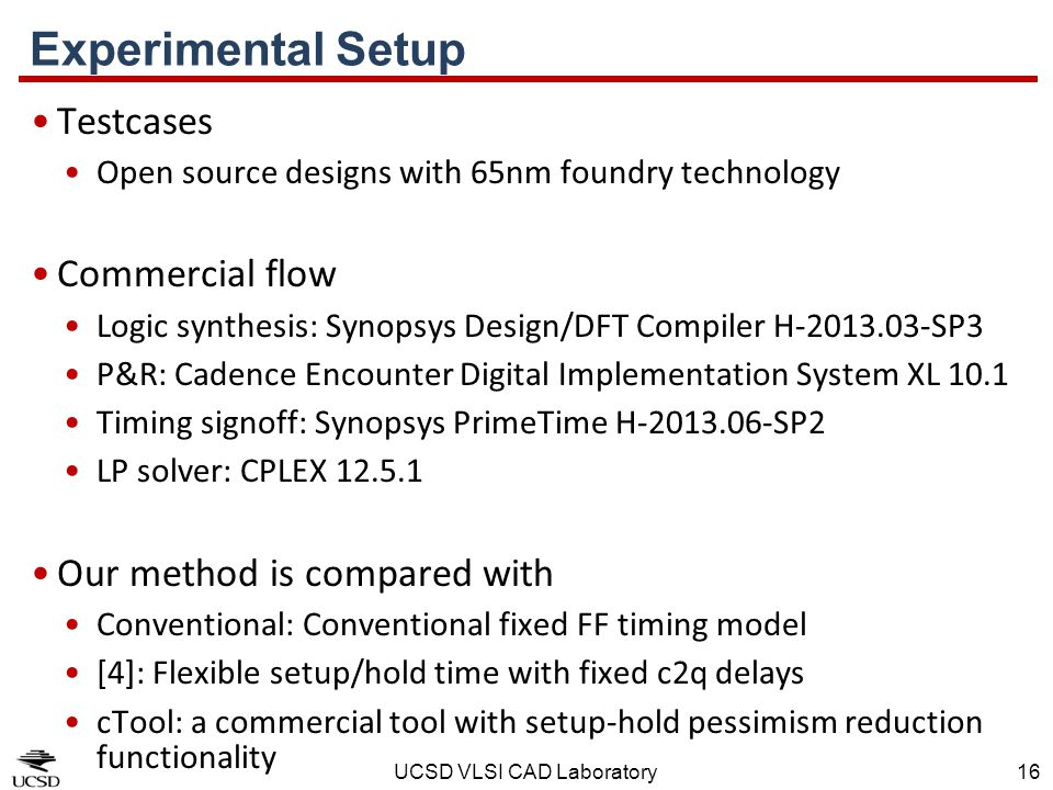 Experimental Setup Testcases Commercial flow