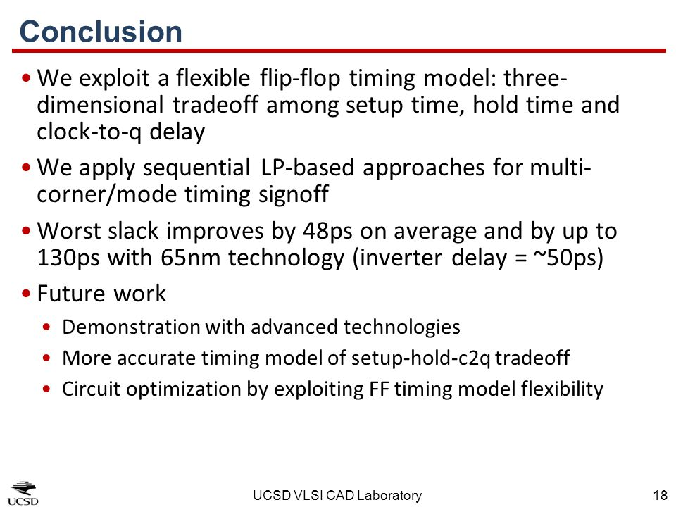 Conclusion We exploit a flexible flip-flop timing model: three-dimensional tradeoff among setup time, hold time and clock-to-q delay.