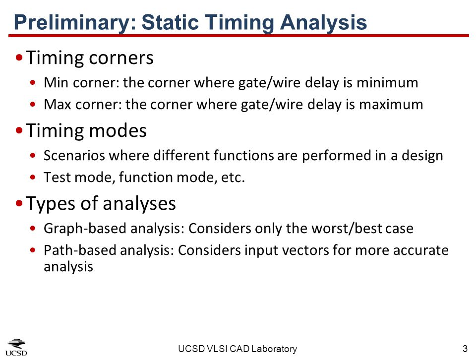 Preliminary: Static Timing Analysis