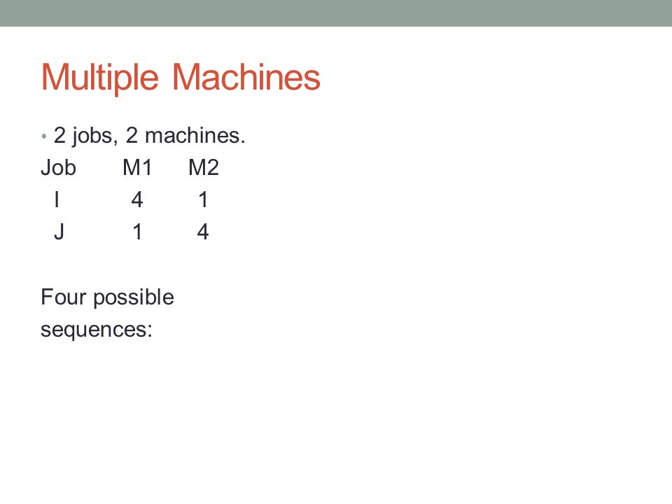Multiple Machines 2 jobs, 2 machines. Job M1 M2 I 4 1 J 1 4