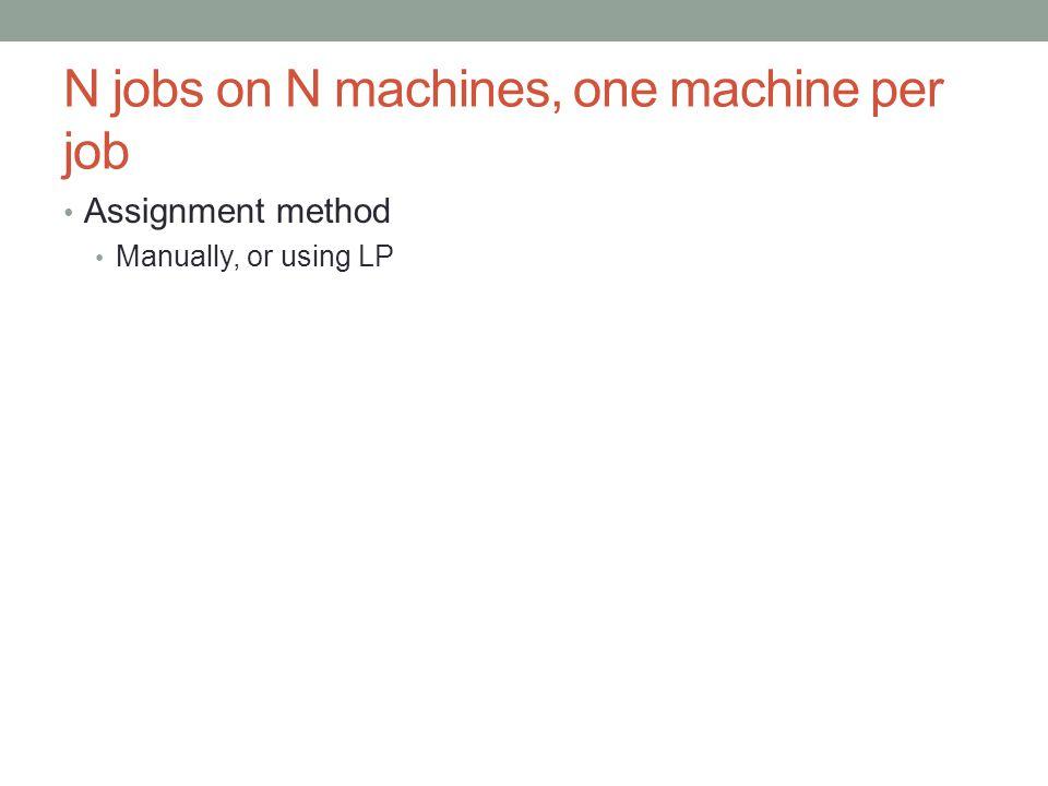 N jobs on N machines, one machine per job