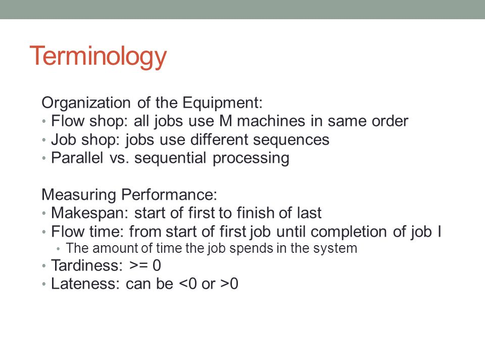 Terminology Organization of the Equipment: