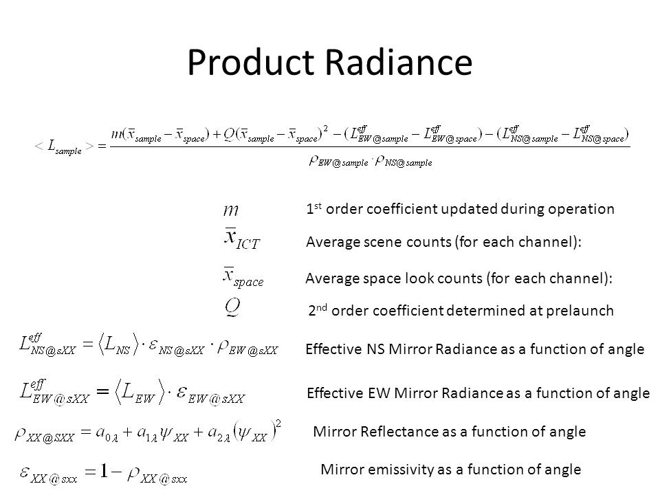 Product Radiance 1st order coefficient updated during operation