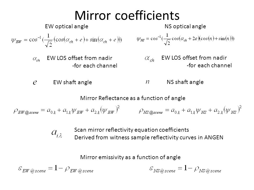 Mirror coefficients EW optical angle NS optical angle