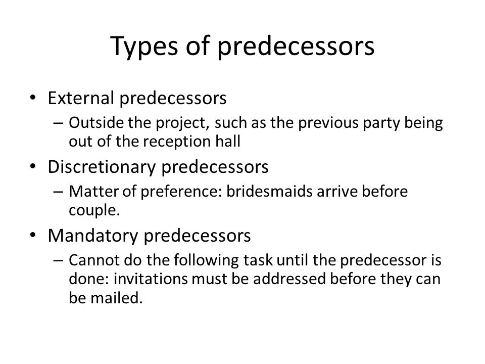 Types of predecessors External predecessors Discretionary predecessors