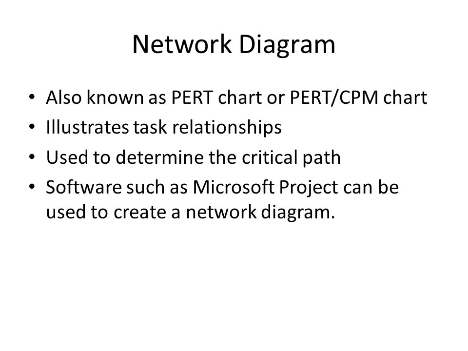 Network Diagram Also known as PERT chart or PERT/CPM chart