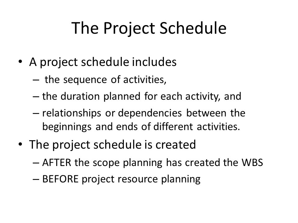 The Project Schedule A project schedule includes