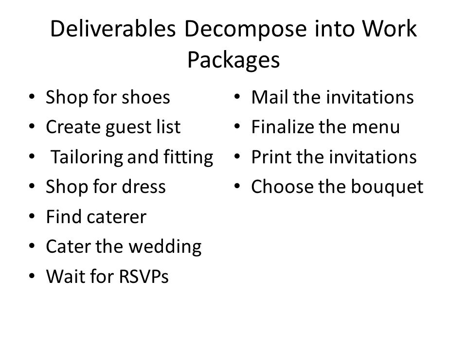 Deliverables Decompose into Work Packages