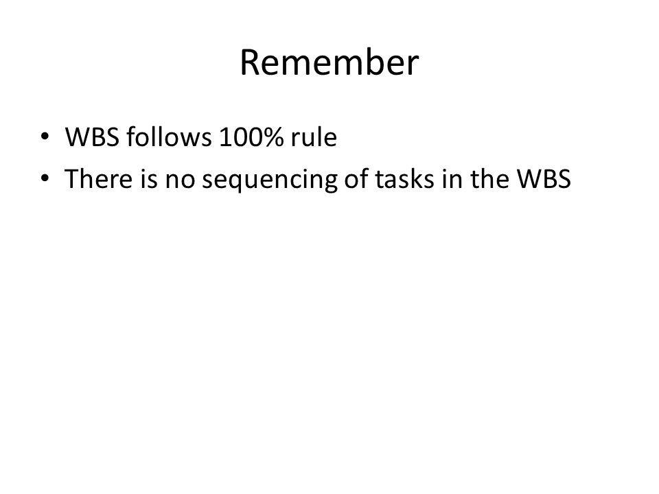Remember WBS follows 100% rule