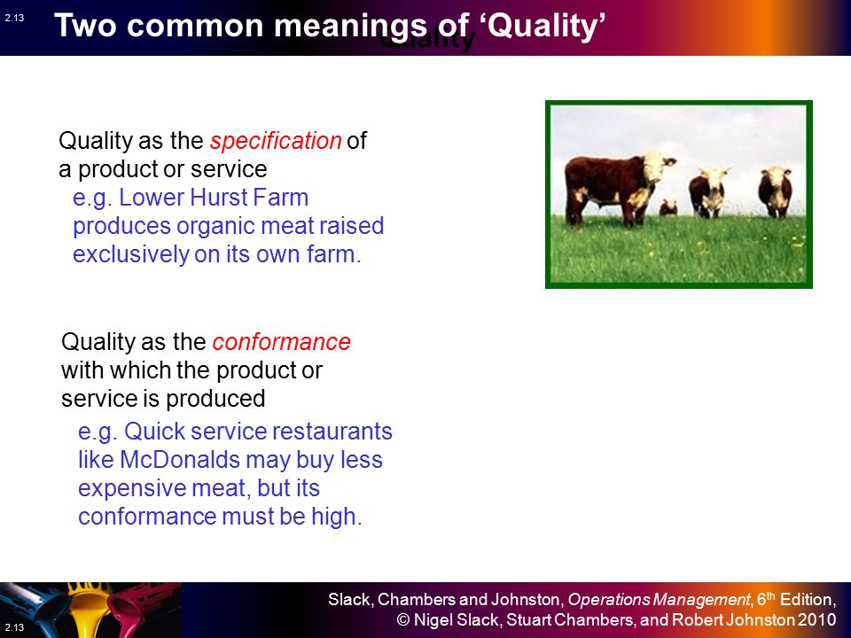 Two common meanings of 'Quality'