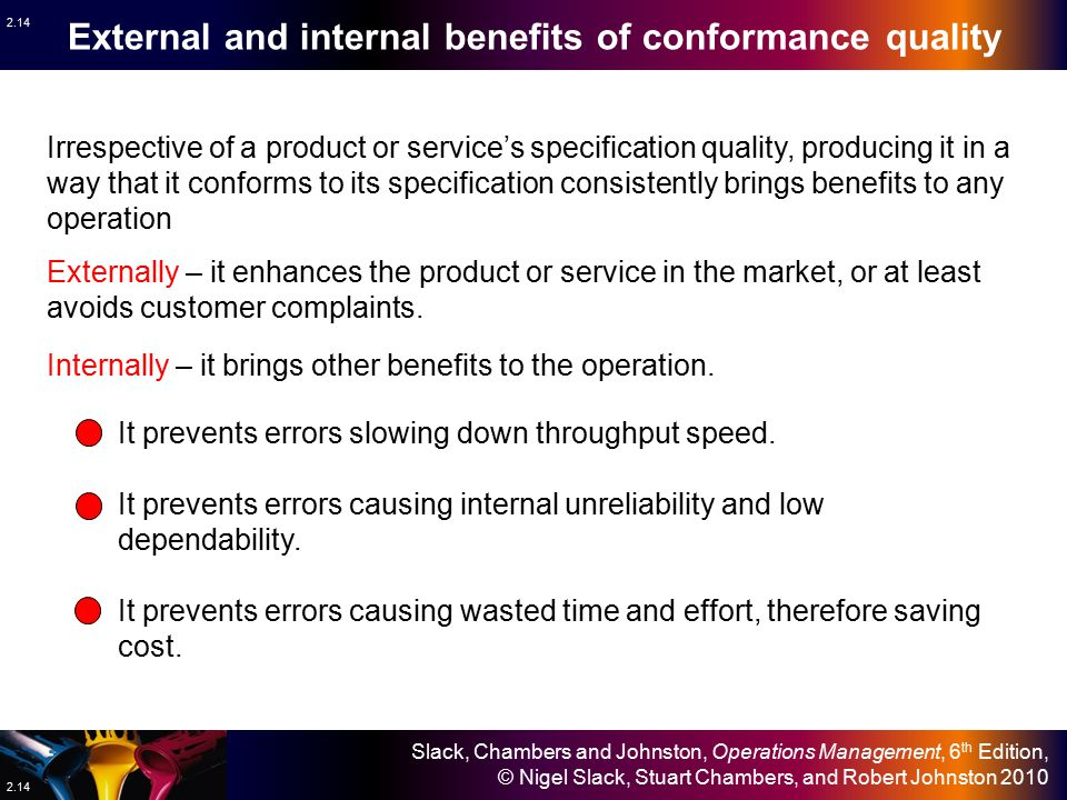 External and internal benefits of conformance quality