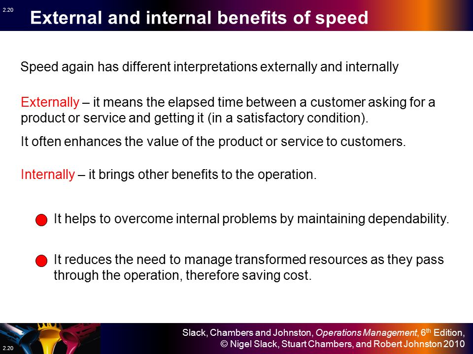 External and internal benefits of speed