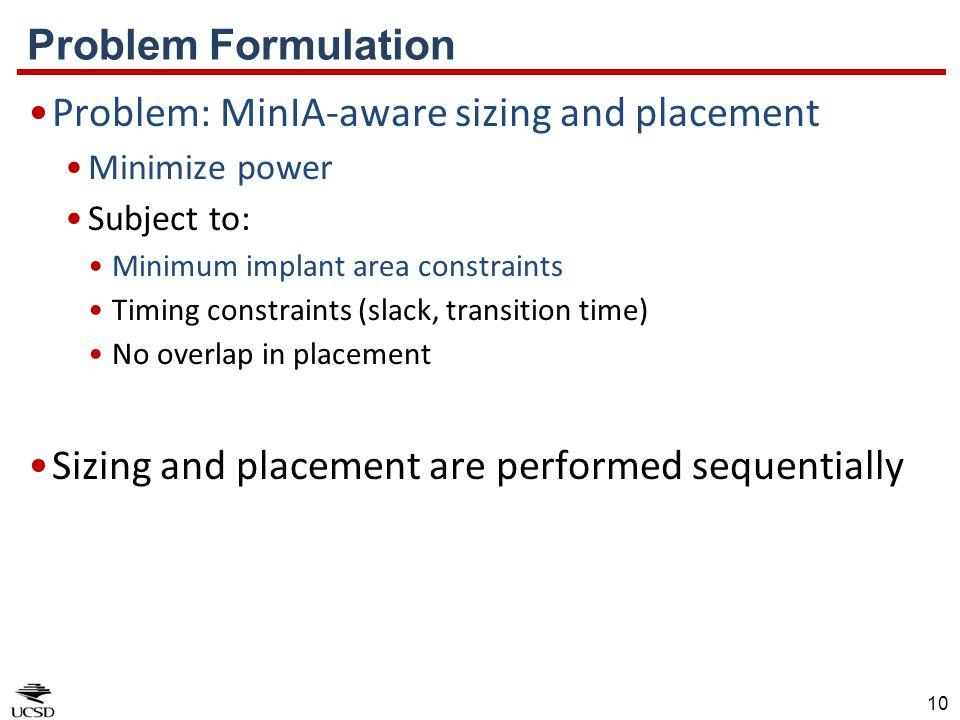 Problem: MinIA-aware sizing and placement