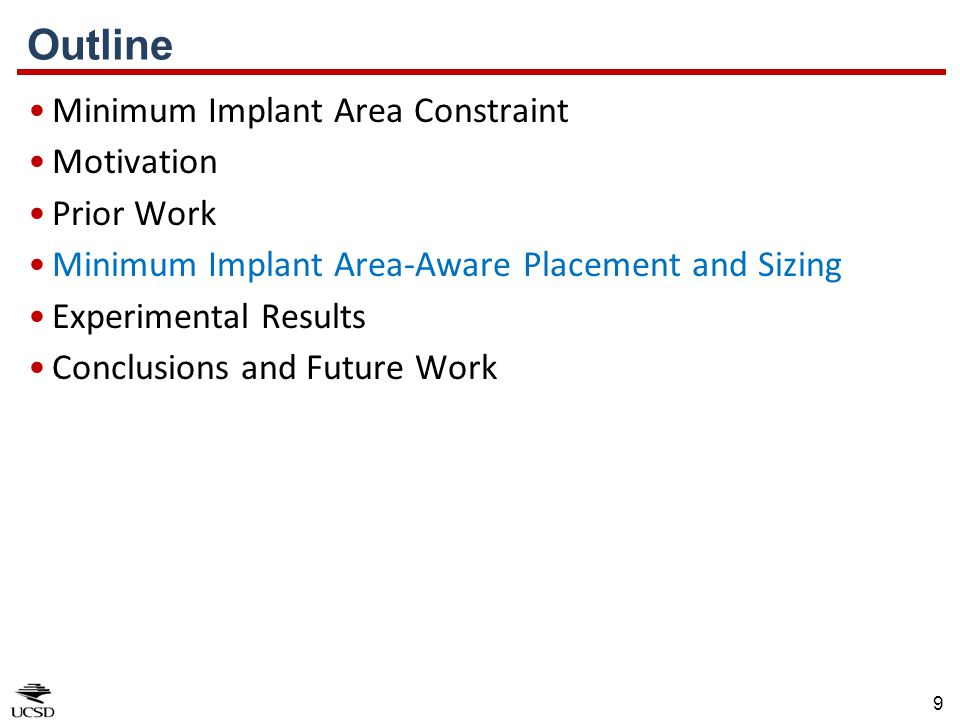 Outline Minimum Implant Area Constraint Motivation Prior Work