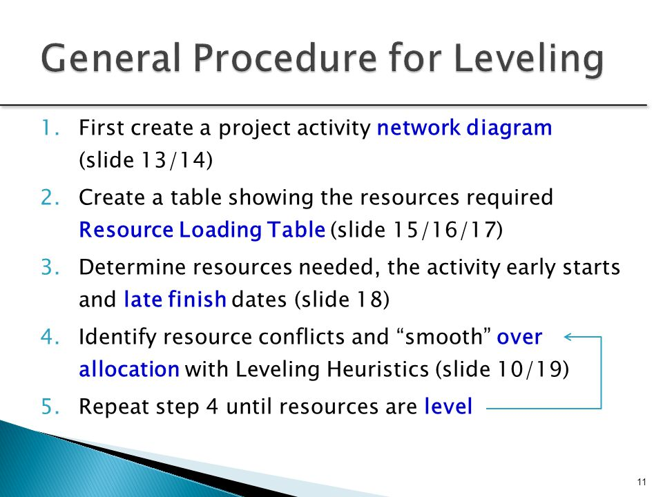 General Procedure for Leveling