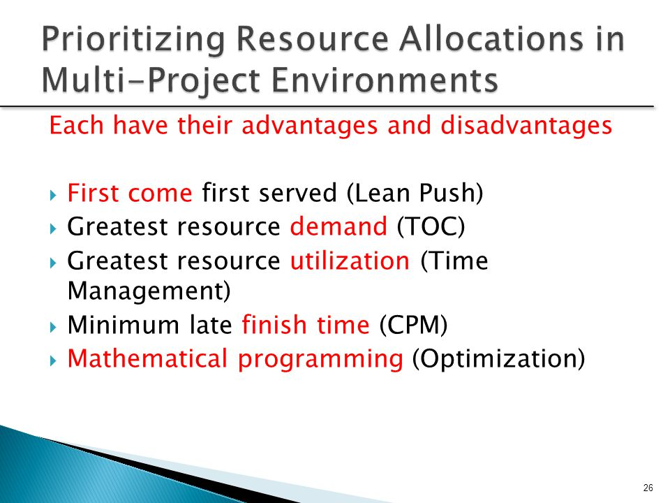 Prioritizing Resource Allocations in Multi-Project Environments