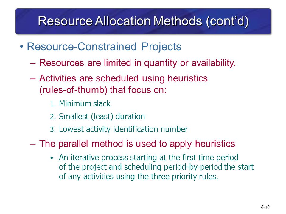 Resource Allocation Methods (cont'd)