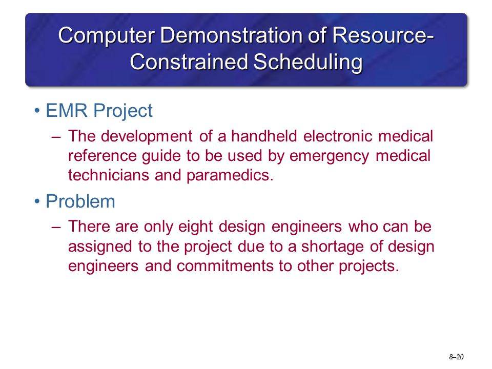Computer Demonstration of Resource-Constrained Scheduling