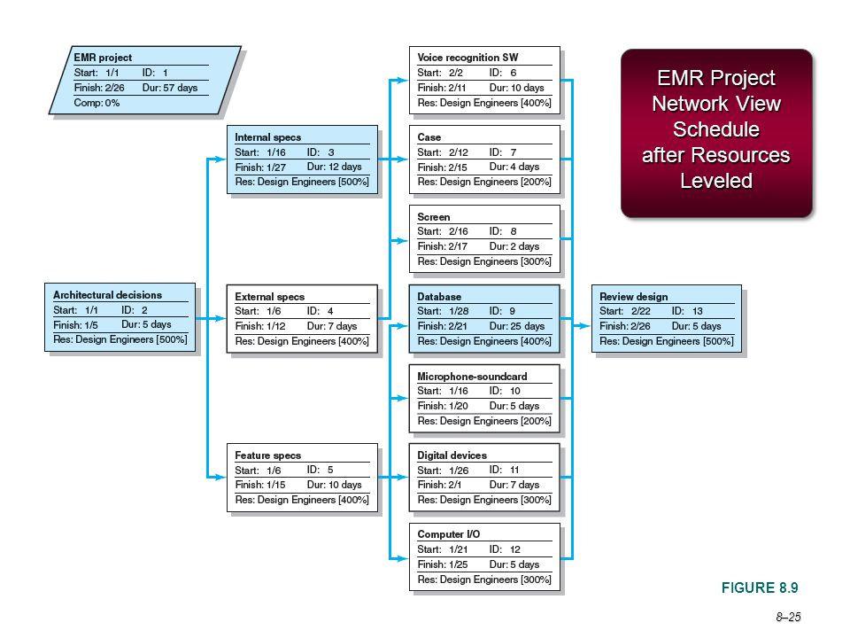 EMR Project Network View Schedule after Resources Leveled