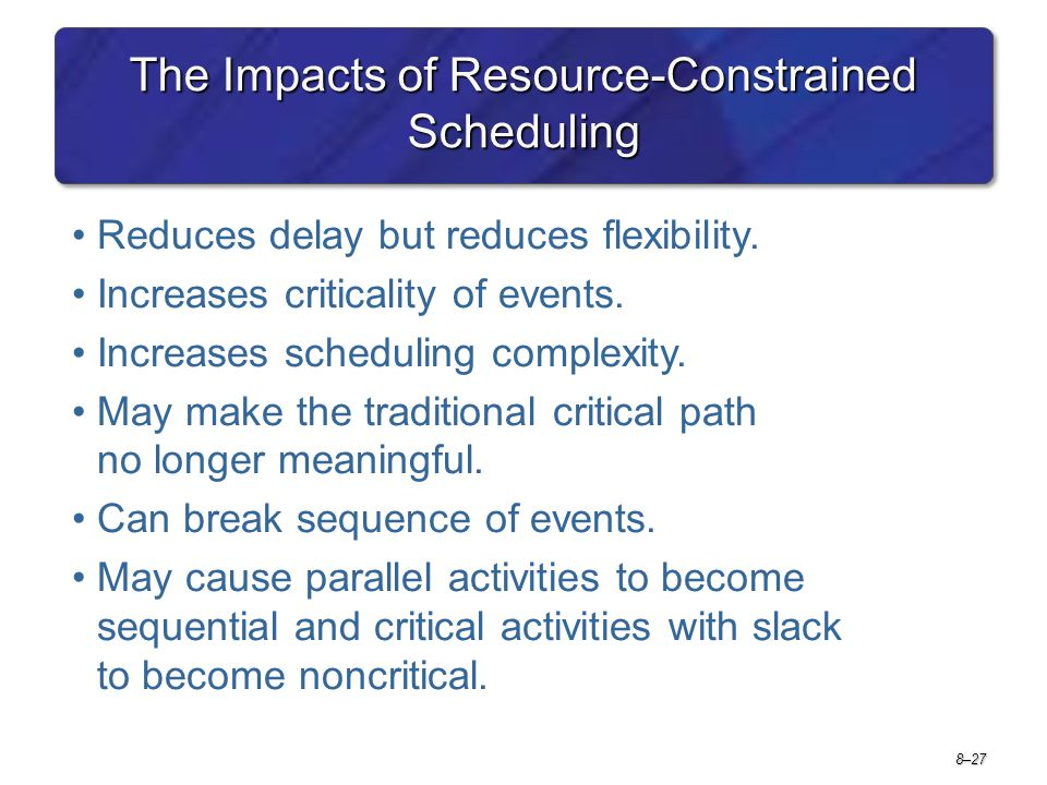 The Impacts of Resource-Constrained Scheduling