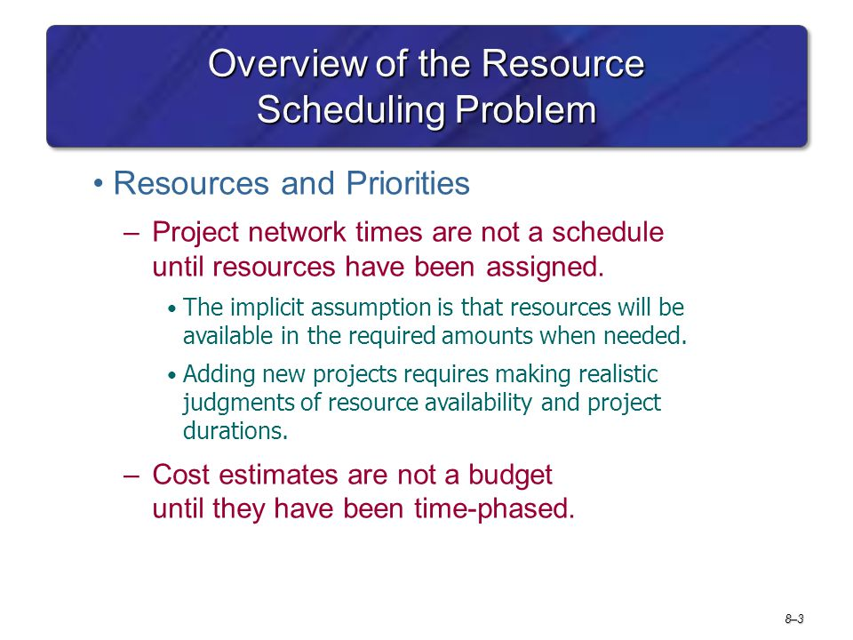 Overview of the Resource Scheduling Problem