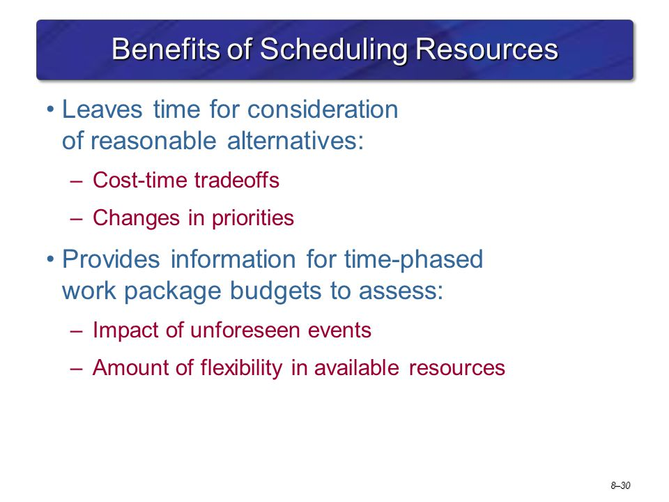 Benefits of Scheduling Resources