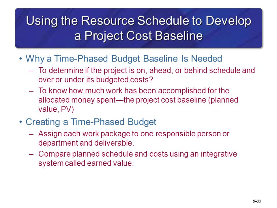 Using the Resource Schedule to Develop a Project Cost Baseline