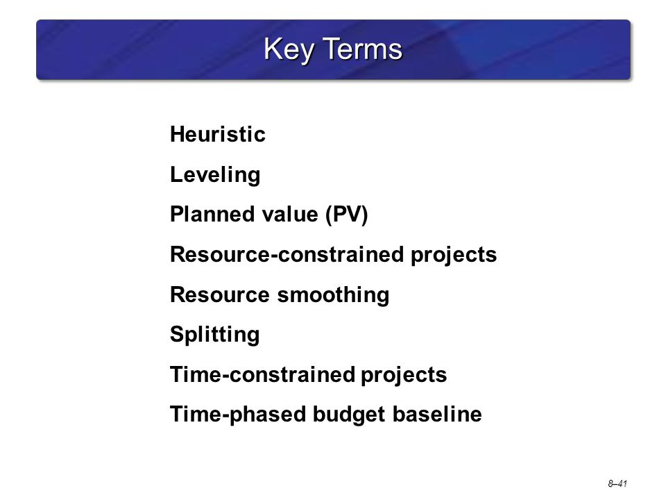 Key Terms Heuristic Leveling Planned value (PV)
