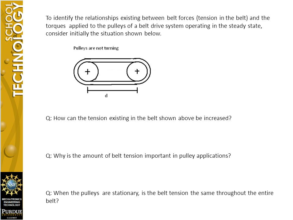 Q: How can the tension existing in the belt shown above be increased
