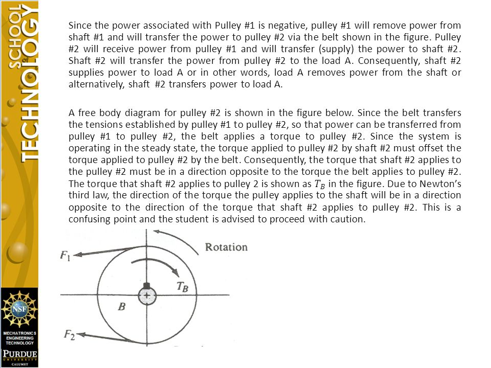 Since the power associated with Pulley #1 is negative, pulley #1 will remove power from shaft #1 and will transfer the power to pulley #2 via the belt shown in the figure.