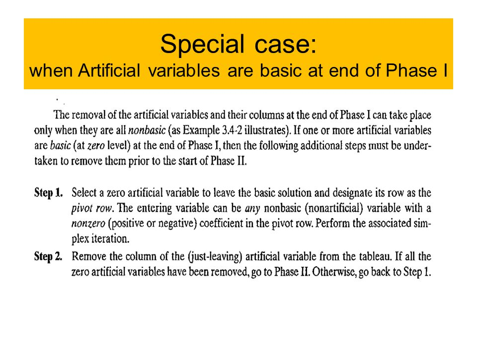 Special case: when Artificial variables are basic at end of Phase I