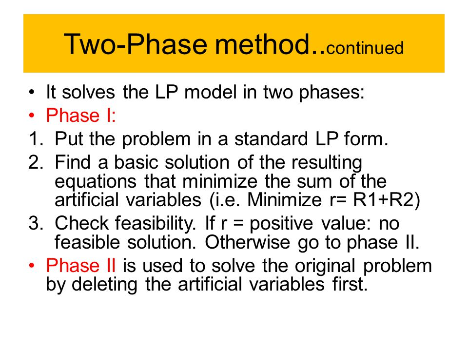 Two-Phase method..continued