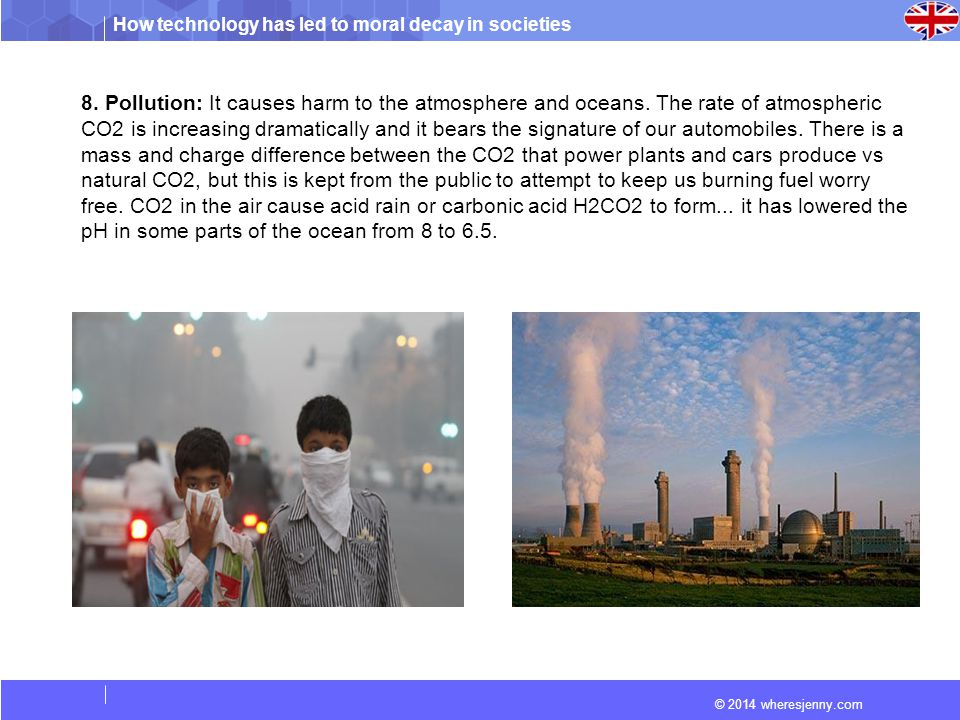 8. Pollution: It causes harm to the atmosphere and oceans