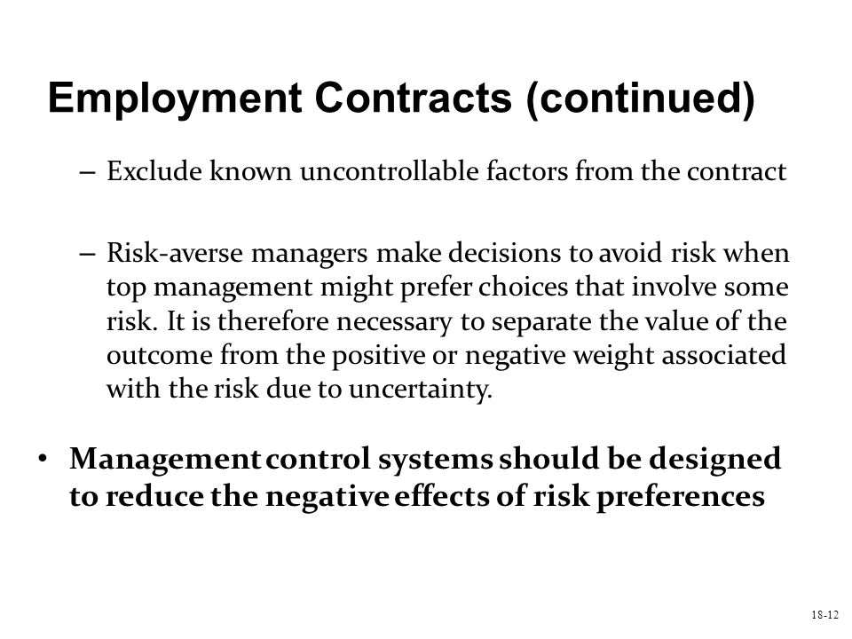 Employment Contracts (continued)