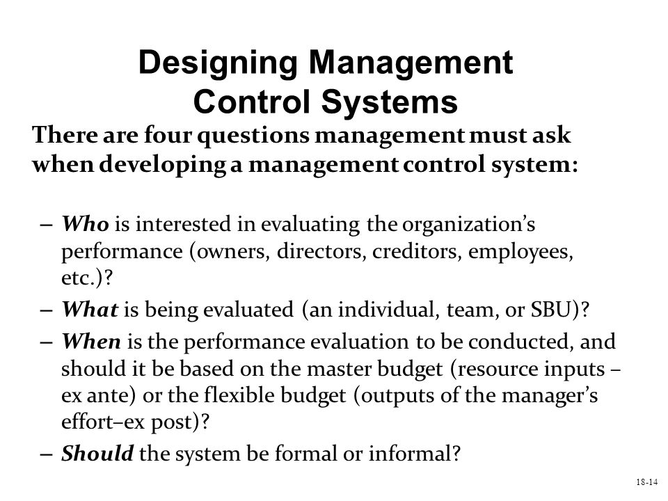 Designing Management Control Systems