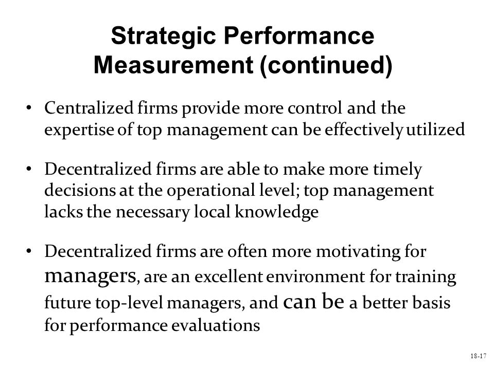 Strategic Performance Measurement (continued)