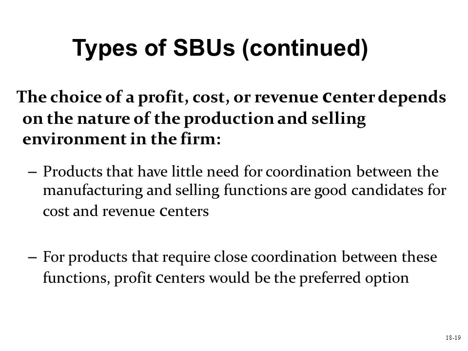 Types of SBUs (continued)