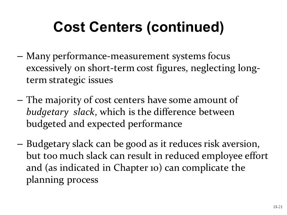 Cost Centers (continued)