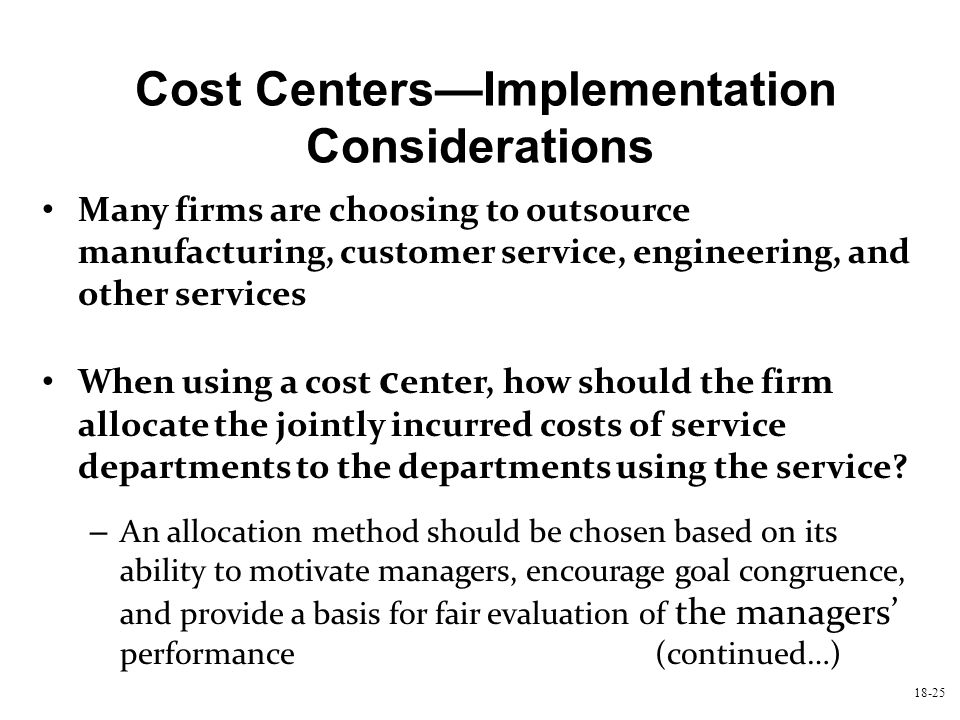 Cost Centers—Implementation Considerations