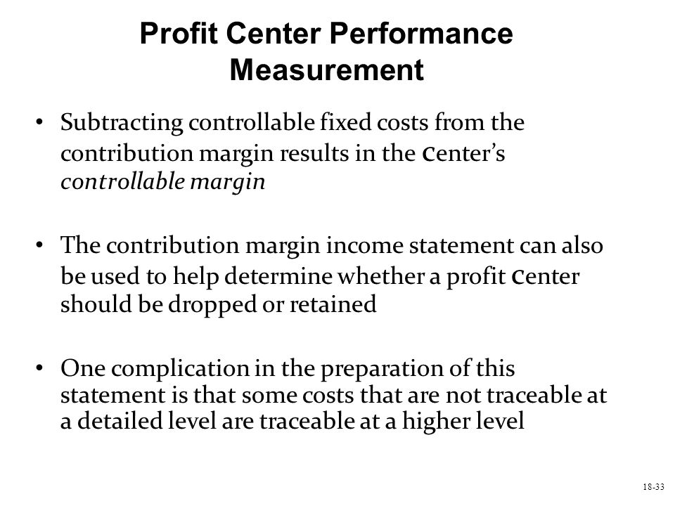 Profit Center Performance Measurement