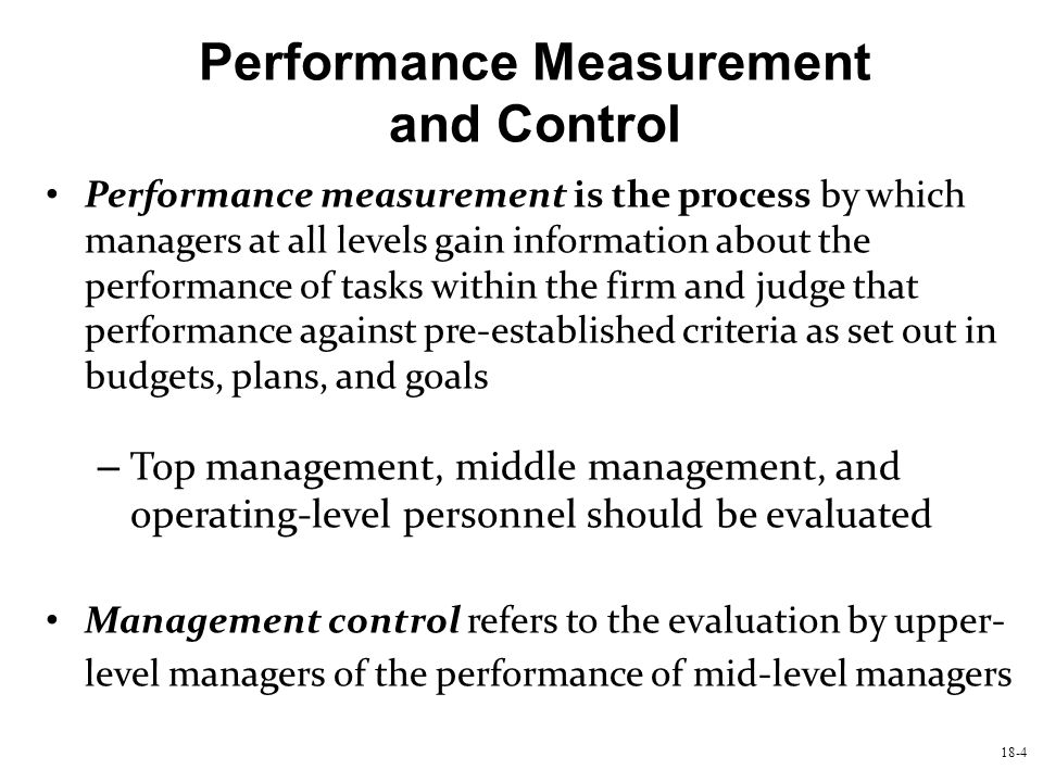 Performance Measurement and Control