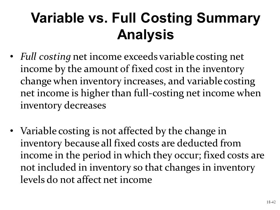 Variable vs. Full Costing Summary Analysis