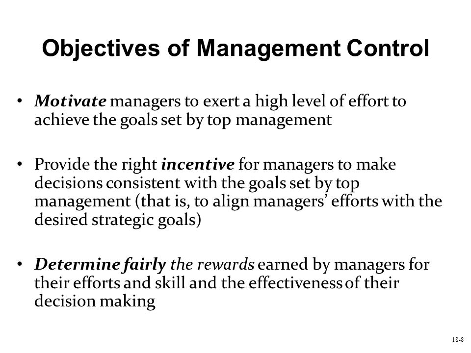 Objectives of Management Control