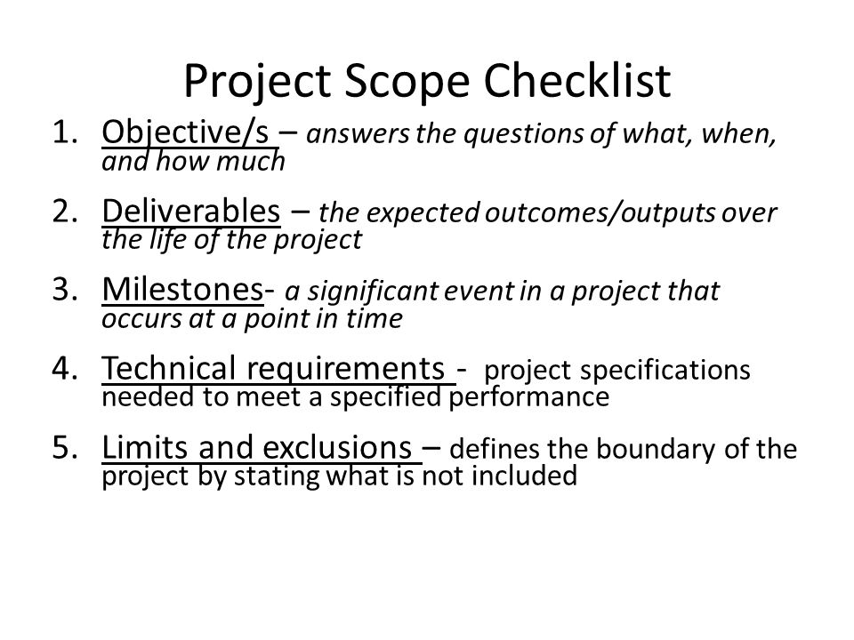 Project Scope Checklist