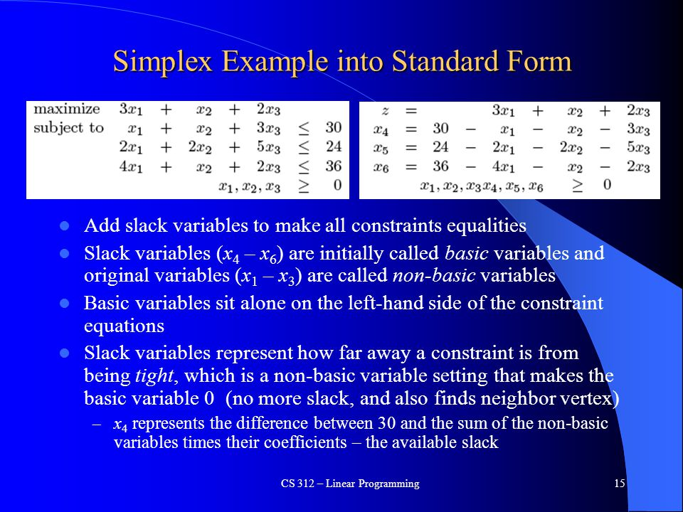 Simplex Example into Standard Form