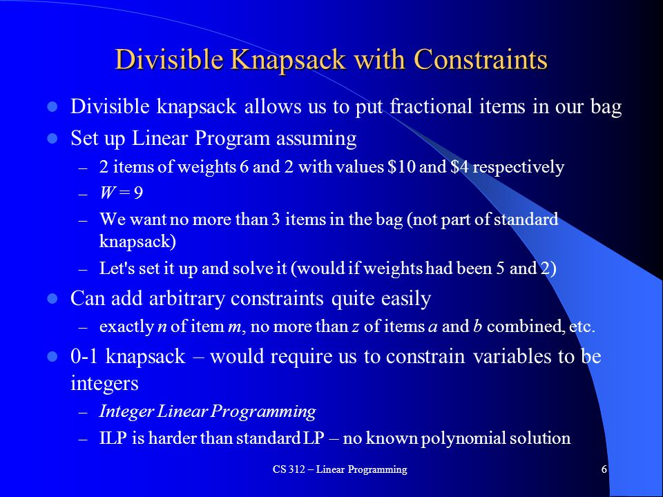 Divisible Knapsack with Constraints